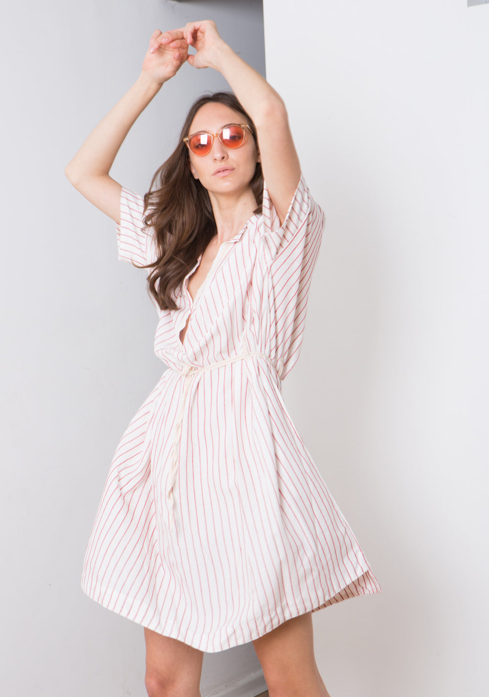 STRIPE KAFTAN , Midi length Caftan Dress, White Stripe Midi Dress