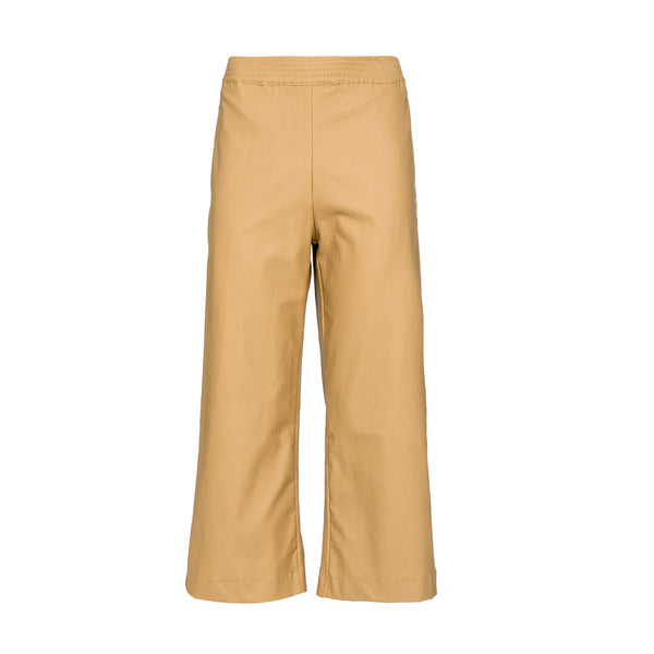 High waisted Faux Leather Pants, elastic Karate fit Pants, Kamel color.