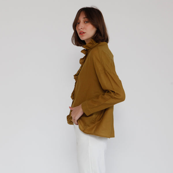 Mary Blouse ,france style Top, mustard