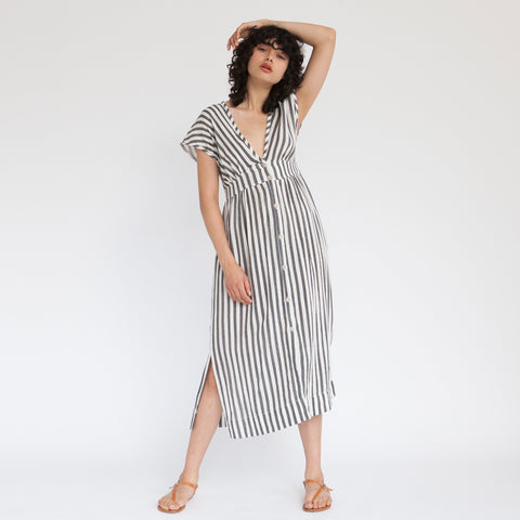 Melody Maxi Dress, Black & white strips