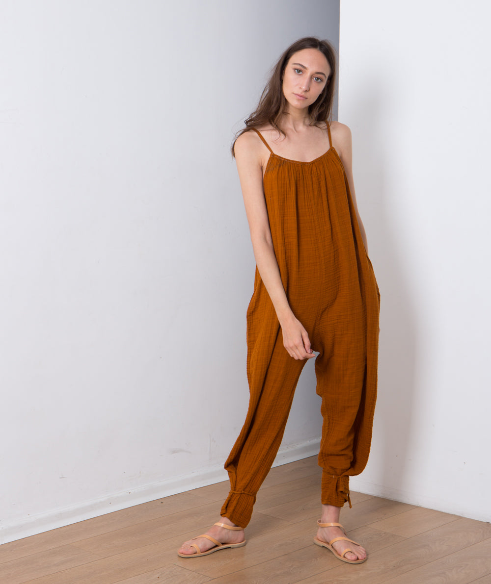 women's sleeveless onesie, Cotton overalls lovely relaxed casual fit. Brick Color .