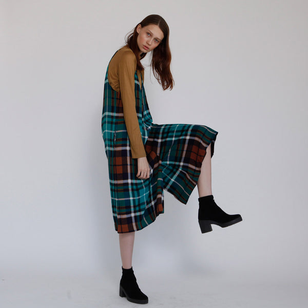 Boho Green Plaid Overall Rooney