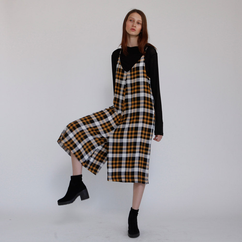 5ba72e99b7 The Rooney Yellow Jumpsuit. Boho Yellow Plaid Overall Rooney