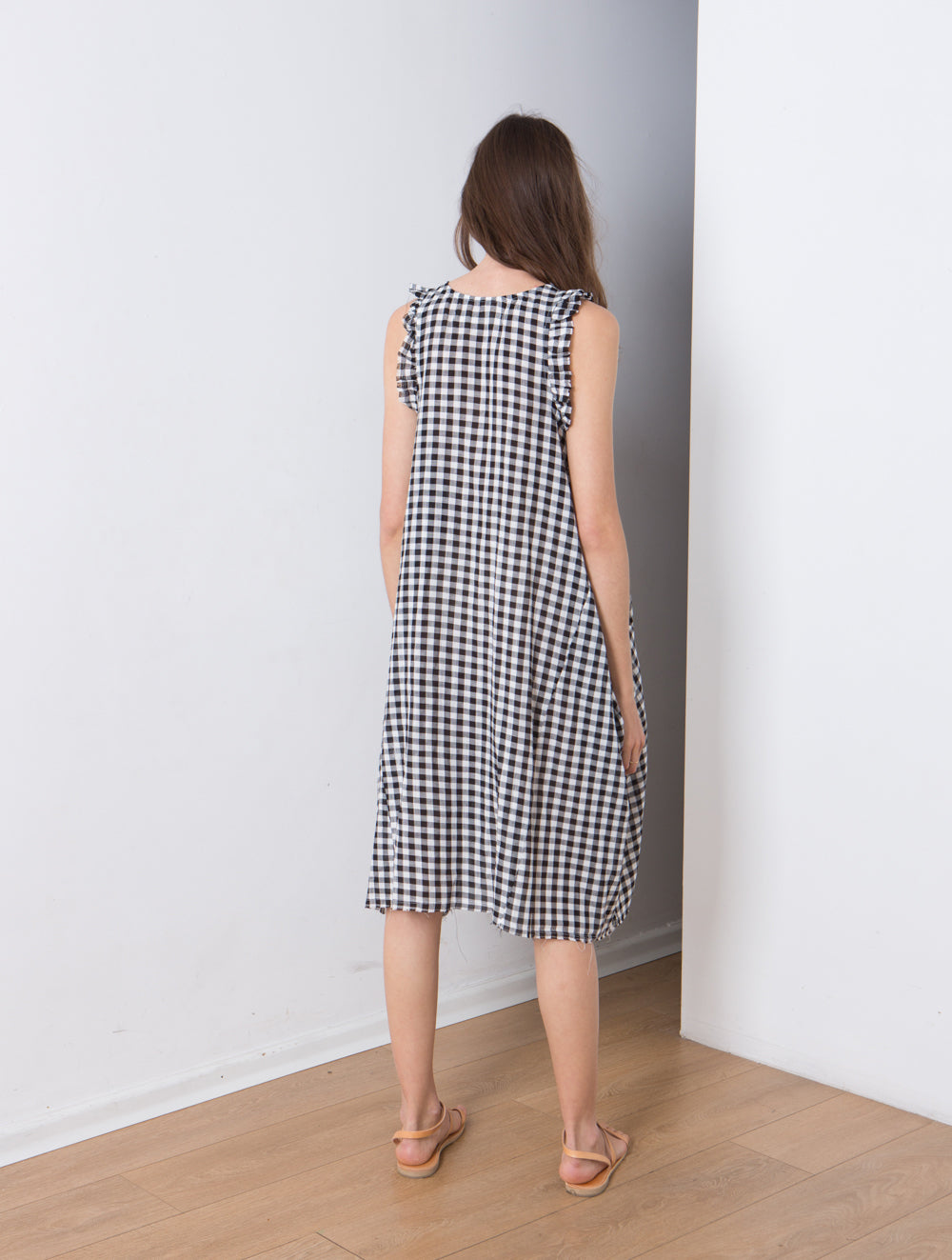 Picnic dress , plaid summer dress , sophisticated summer dress . midi length cotton dress . Black & white .