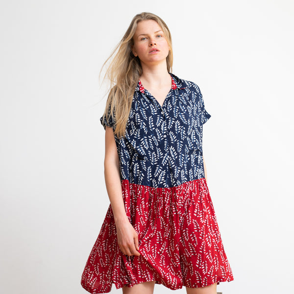 Mix Prints Button Down Midi Poncho Dress