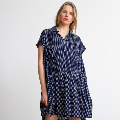 Button Down Midi Polka Dot Blue & White Poncho Dress