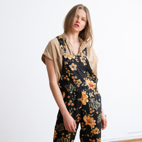 Floral Boho Print Loose Retro Denim summer overall.