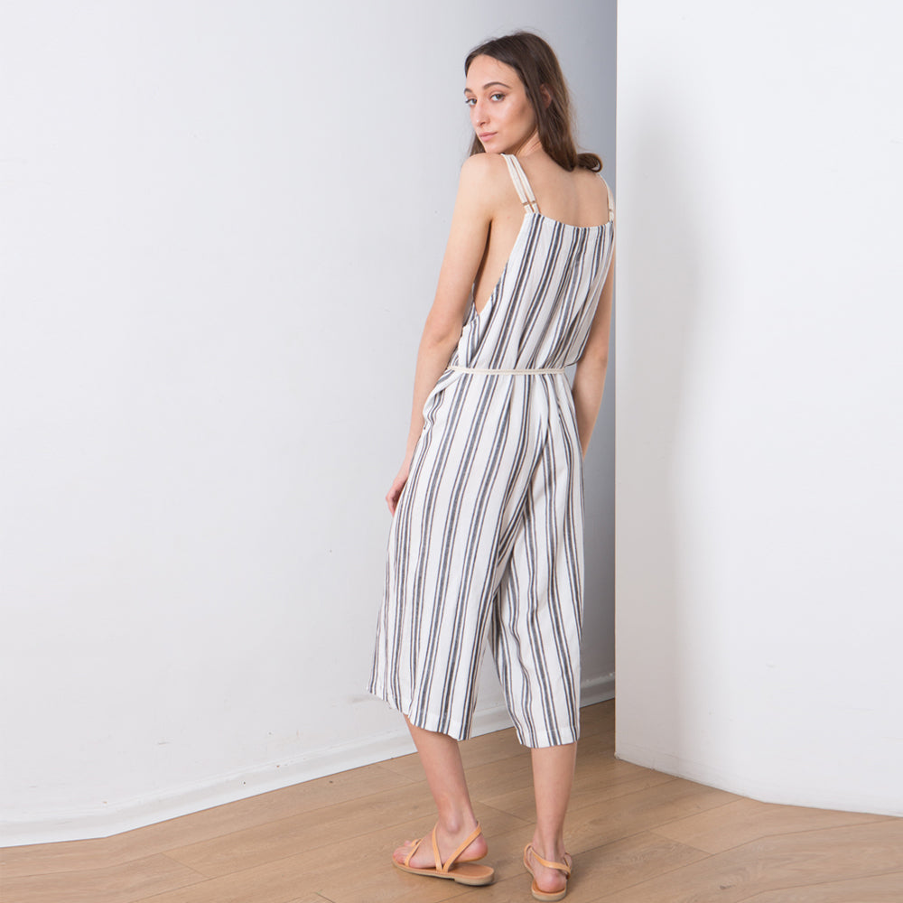 Striped Romper , Relaxed fit Jumpsuit , White with black stripes, Womens Overalls, Overall