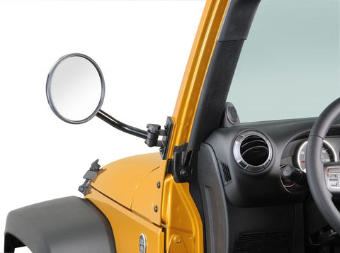 1976-2016 Jeep Wrangler & CJ Rampage Quick Release Mirrors with Relocation Brackets Black