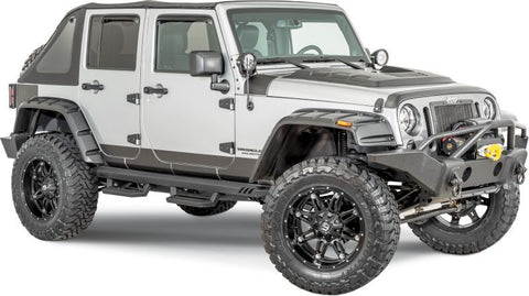 2007-2016 Jeep Wrangler Rampage RX Rivet Style Textured Flares with Stainless Steel Bolts