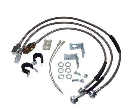"1987-2006 Jeep Wrangler Braided Stainless Steel Brake Lines up to 6"" Lift"