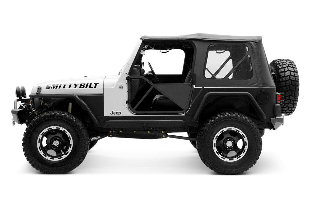 1997 2006 Jeep Wrangler Replacement Soft Top With Clear Rear Windows Black  Diamond