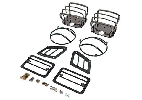 1997-2006 Jeep Wrangler Smittybilt Front & Rear Euro Light Guard Kit in Black