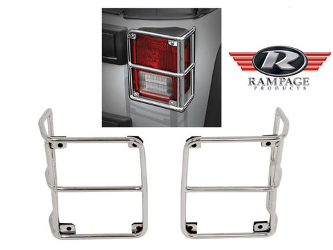 2007-2016 Jeep Wrangler Rampage Rear Euro Taillight Guards in Stainless Steel