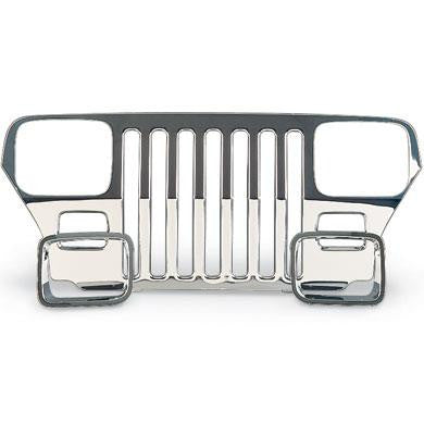 1987-1995 Jeep Wrangler Stainless Steel Grille Overlay with Headlight Bezels