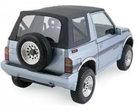 1988-1994 Geo Tracker & Suzuki Sidekick Soft Top with Clear Windows Black Denim
