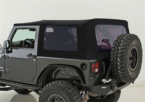 2010-2016 Jeep Wrangler 2 Door Replacement Premium Soft Top with Tinted Windows Black Twill