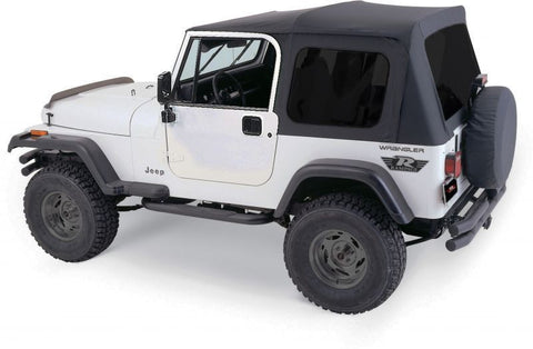 1987-1995 Jeep Wrangler Complete Soft Top with Hardware to fit Full Doors in Black Diamond