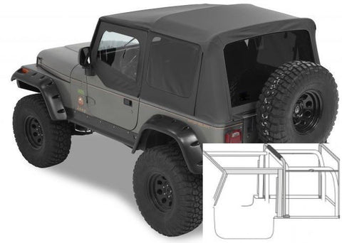 1988-1995 Jeep Wrangler Complete Soft Top with Hardware Black Denim