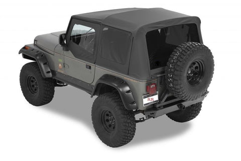 1988-1995 Jeep Wrangler Replacement Soft Top with Upper Door Skins & Tinted Rear Windows Black Denim