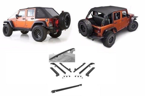 2007-2016 Jeep Wrangler Unlimited Frameless Bowless Soft Top (includes hardware)