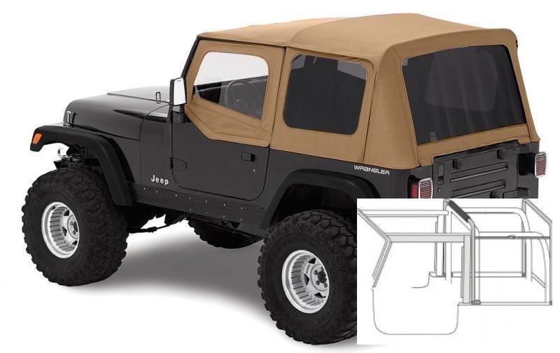 Good 1988 1995 Jeep Wrangler Complete Soft Top With Hardware Black Spice/Tan