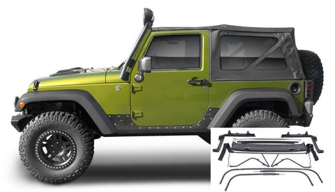 2007-2016 Jeep Wrangler 2 Door Complete Soft Top with Hardware in Black Twill