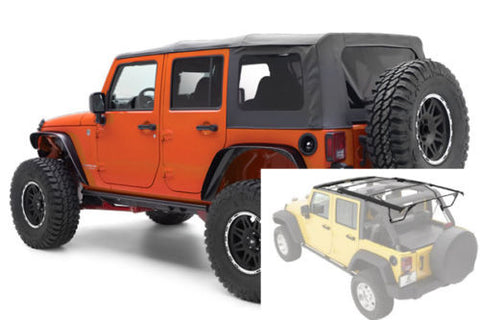 2007-2017 Jeep Wrangler Unlimited Complete Soft Top with Hardware in Black Diamond