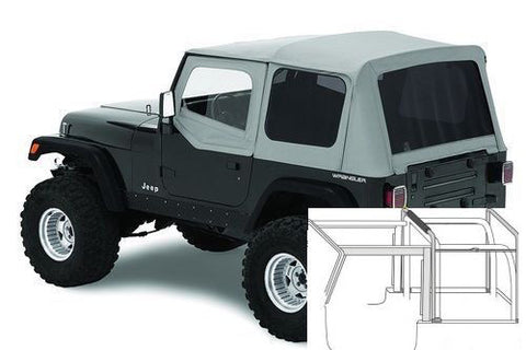 1988-1995 Jeep Wrangler Complete Soft Top with Hardware Gray