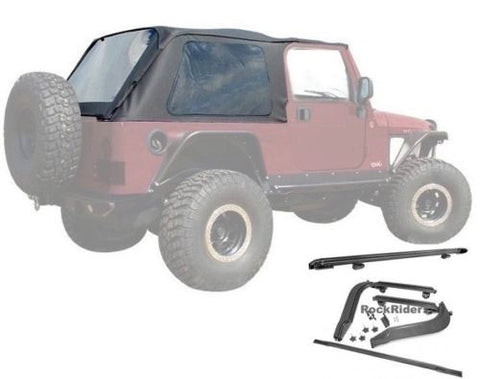 2004-2006 Jeep Wrangler Unlimited Frameless Bowless Soft Top with Hardware