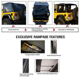 1997-2006 Jeep Wrangler Rampage Trail Top Frameless Bowless Kit Sailcloth Fabric