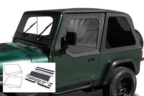 1992-1995 Jeep Wrangler Rampage Trail Top Frameless Bowless with Hardware Kit