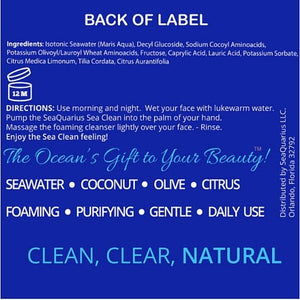 SeaQuarius Skincare - Facial Cleanser - The Sea Clean - Foaming And Purifying Facial Wash