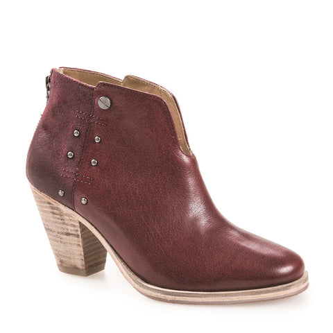WOMEN'S ELSA BERGUNDY LEATHER ANKLE BOOT