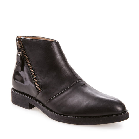 Women's Nina Black Zip Up Leather Ankle Boot