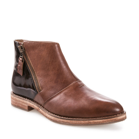 Women's Nina Brown Zip Up Leather Ankle Boot