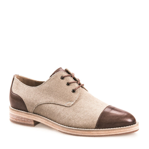 WOMEN'S SALLY NATURAL & DARK TAN LEATHER DERBY