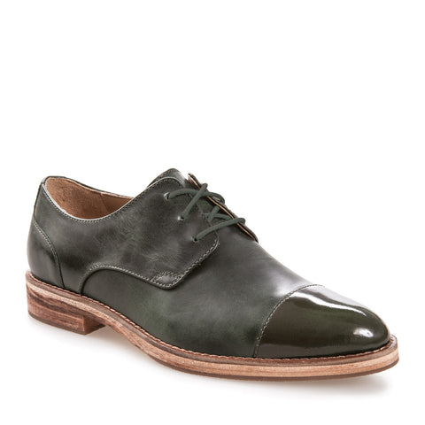 Women's Sally Oak Tree Green Leather Derby