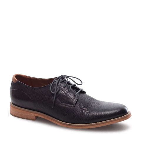 Men's Indi Off-Black Leather Derby