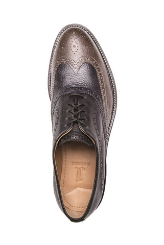 MEN'S SPENCER PALOMA GREY & BLACK LEATHER BROGUE OXFORD