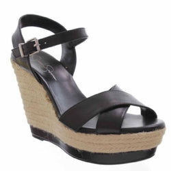 Jessica Simpson Kowloon Black Leather Sandals Platform Wedges Shoes Size 8