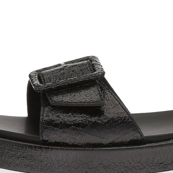 Kendall & Kylie Wave Platform Black Leather Strappy Sandal Size 7