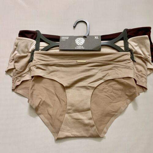 Vince Camuto Smooth Hipster Panties Purple, Brown, Pink 3 Pack MSRP $36 Size XL