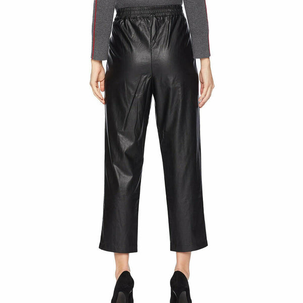1.State Black Slim Leg Faux Leather Cropped Ankle Pants Size M
