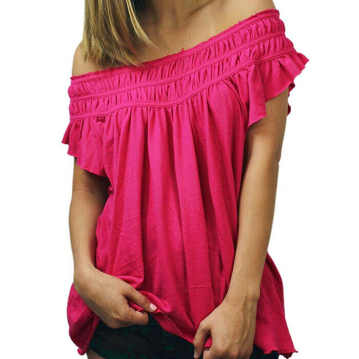 Free People Womens Coconut Gathered Ruffle Sleeve Pink Boho Knit Top Size L