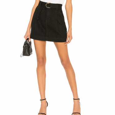 Free People Size 28 Jade Belted Black Denim Mini Skirt