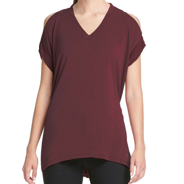 Donna Karan Active Athleisure High-Low Cold-Shoulder Knit Top Size L
