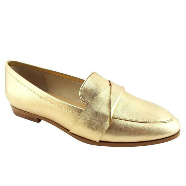 KATE SPADE Satchi Gold Metallic Leather Loafers Flats Shoes Size 8.5