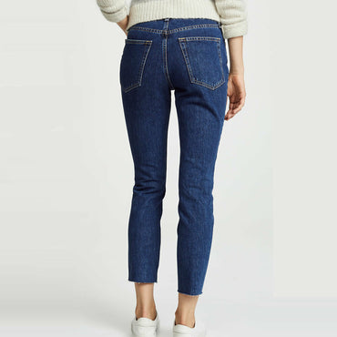 Rag & Bone/JEAN High Rise Rigid Raw Hem Ankle Skinny Jeans Size 26