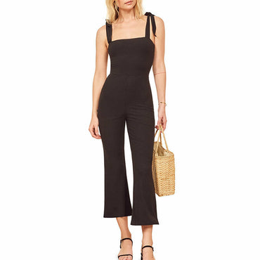 Reformation Jeans Wesley Black Ribbed Stretch Knit Jumpsuit Jumper Romper XL